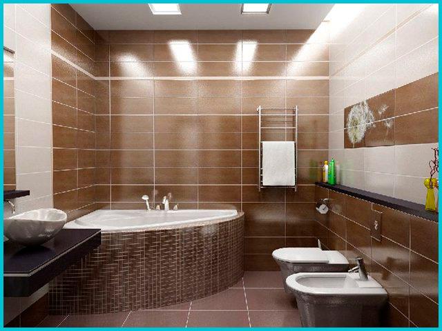 Badkamerontwerp is bruin. Ontwerp, ontwerp van een bruine badkamer ...